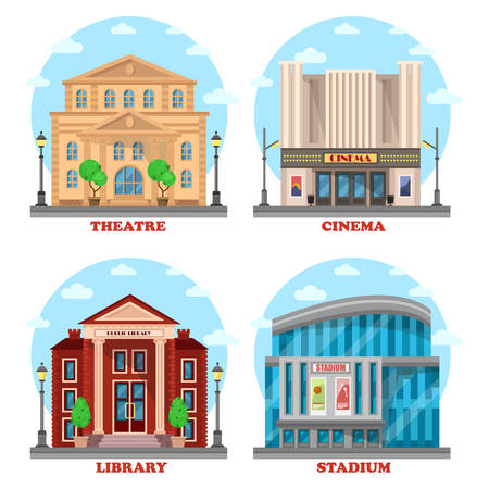 Cinema building, library architecture, stadium construction, theatre structure. Facade of culture and sport building. May be used for city buildings like cinema and stadium, theatre, library exterior