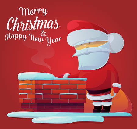 Santa claus near chimney on roof at 2017 new year. Can be used for new year celebration in 2017 or christmas eve postcard. Ideal for new year banner with santa claus or christmas greeting card