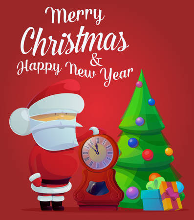 midnight time: New year santa claus near fir tree with decorations and clocks showing time five minutes till midnight. May be used for santa claus banner, greeting card template, holiday and festive theme