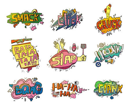 ha: Comic speech bubbles for sound exclamation. Set of onomatopoeia elements for smash and laugh, swatter bubble and shooting, clank speech. For comic book speech bubble or comic explosion
