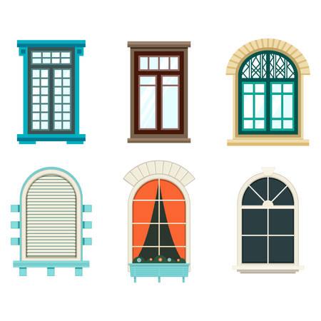 サッシと枠、カーテン、ウィンドウのブラインド、植物や花と分離のウィンドウを開きます。壁屋外観プラスチックや木製窓のアーチ。建築フレー