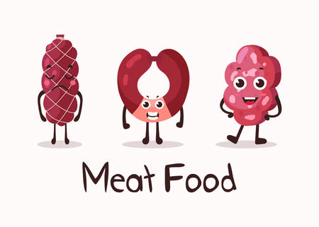 frankfurter: Frankfurter sausage and meat roulade cartoon character with smiley faces. Isolated meat and sausage food, kielbasa and weenie for dinner. For cartoon wurst or beef, steakhouse, meat shop banner