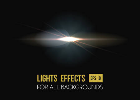 solar flare: Solar flare or sun rays light effect background. Abstract explosion effect or star light, sunlight and glow in sky, burst beam through lens. Good for summer heat or magic, disco poster and party theme Illustration