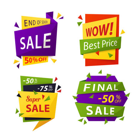 special price: Sale tag or vector sale labels for price discount. Promotion offer or special advertisement sticker for retail price, sale badges, sell tag and price label, clearance sale promo for shop and store.