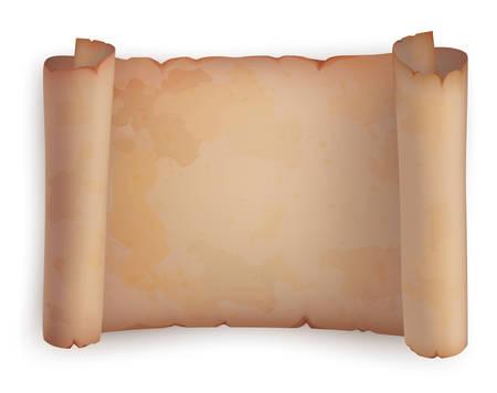 Rouleau de papier ou vieux défilement horizontal ou parchemin antique. Document Vieux papier ou fond manuscrit, vide parchemin, papyrus illustration, religion placard, défilement bannière, parchemin, vieux papier