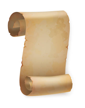pentateuch: Vertical vintage paper roll or parchment scroll, ancient papyrus or old blank letter, empty and torn placard template. Good for old page scroll or rolled paper, scroll banner or wisdom, religion theme