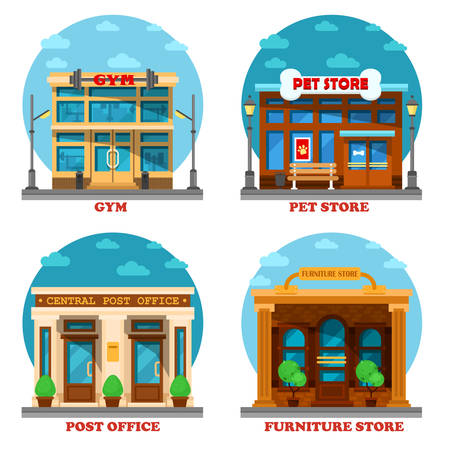 post office building: Pet shop and furniture store, post office and gym or gymnasium. Architecture of letter delivery building and animal care shop or store, furniture and sport club building. Shop or store exterior view Illustration
