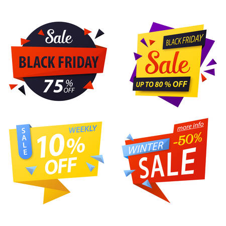 sticker vector: Black friday price discount tags for sale. Special offer price tag icons or promo coupon, sticker for best offer. For shop or store price tag, black friday advertising, weekly market vector label Illustration