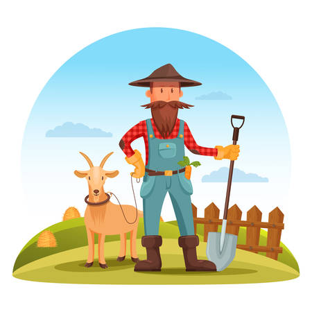 agrarian: Farmer man in boots, gloves and hat with spade or shovel and goat on field with hay and fence. Smiling cartoon farmer worker at cultivation field. For village or countryside man, agriculture farmer