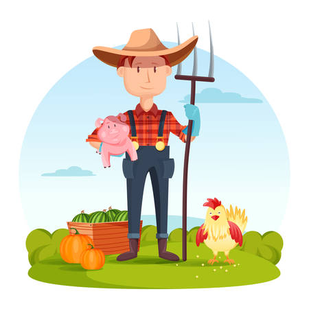 Farmer with pitchfork and pork, vegetables and hen. Field with rural farmer near watermelon and pumpkin, village or countryside man, redneck or cartoon farmer character, gardener person. Illustration