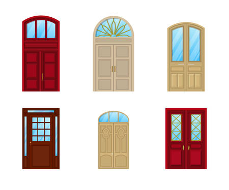 front of house: Room door set of icons, interior entrance design. Interior door element or exit frame, inside view on architectural wood door with glass and knob, closed doorway icon or decoration of front entrance