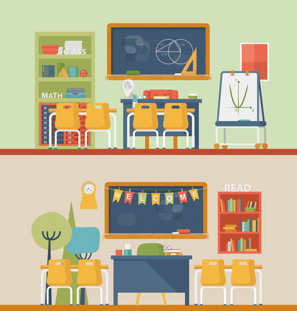pedagogy: Classroom for literature and mathematics with blackboard. University or school classroom for teacher and education of children. May be used for graduation or education, pedagogic classroom interior