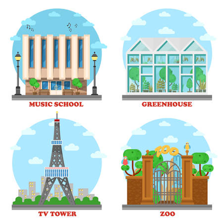 tv tower: TV station and music school, zoo, greenhouse architecture. Facade with entrance for ecology green house and television tower building, animal zoo structure and music school building.Architecture theme