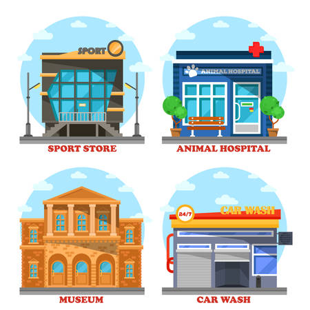 Car wash and veterinary shop, sportswear store and museum with steps. Vet or animal medicine building and sportswear store, facade architecture of museum for exhibit or gallery, transport wash Illustration