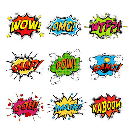 danger box: Set of comic speech bubble speech. Bomb with bang and pow cloud, wow bubble and wtf communication symbol, danger and shouting, humour speech expression, exploding splash box