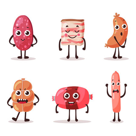 meat food: Food meat characters with cartoon faces. eps 10