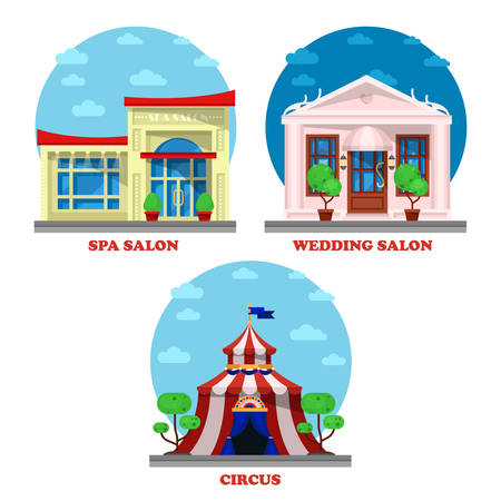 wedding tent: Circus and spa salon, wedding building exterior view. Marriage ceremony store building exterior view, circus camp or tent architecture, women beauty cosmetics salon logo or shop exterior banner Illustration