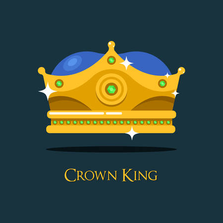 Blinking shiny king golden crown or crest. Imperial or emperor coronet or heraldic diadem design,antique queen or prince crown,monarch tiara.For medieval crown game award or gold headdress, royal sign