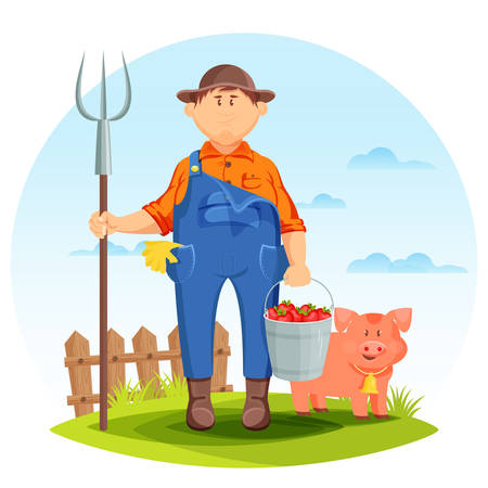 agrarian: Farmer man on farming field with pig and pitchfork. Pork and farmer with bucket of tomatoes and fence behind, agriculture farmland or rural man. For agrarian or farmer, agriculture or gardener theme
