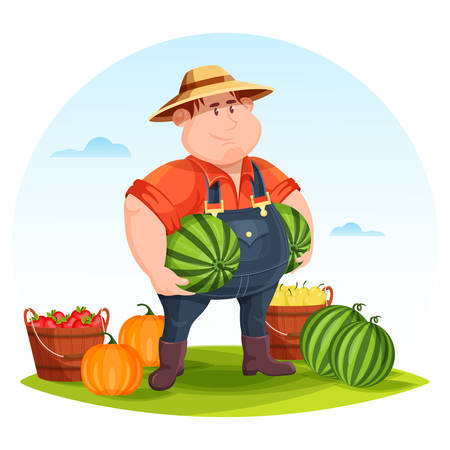 Agrarian or agricultural farmer in field holding vegetables. Man holding watermelon and tomato and pear in wooden bucket on field. May be used for farmer man on field illustration or agriculture rural theme