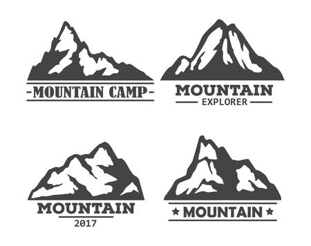 climbing mountain: Hill or mountain, rock silhouette icons set. Peak landscape logo or mountain symbol, high rock or hills set of icons. Can be used for tourism or geology, climbing and holiday camp, extreme mountain sport logo