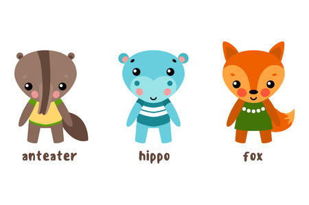Cartoon characters or set of animals. Hippo or hippopotamus, river-horse or behemoth, ant-eater or ant anteater, fox or cartoon tod.May be used for vector animal illustration,set of child cartoon pets Illustration