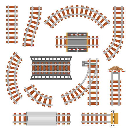 Kolej lub kolej, widok z góry kolejowego. Pociąg toru transportowego wykonanego ze stali i drewna, szyny kolejowej lub falistej, proste połączenia.Lotomontażowa kolej lub ścieżka, kolejowa, kolejowa widok z góry. Motyw dworca kolejowego