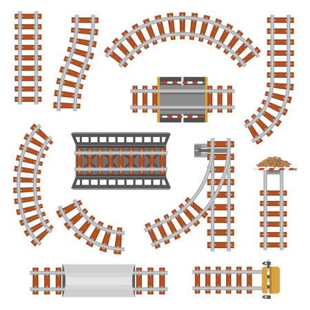 Rail ou chemin de fer en vue de dessus. piste de transport ferroviaire en acier et en bois, ondulé ferroviaire ou sinueuse, chemin de fer connections.Locomotive droite ou chemin, chemin de fer, rail supérieur vue. thème de la Gare