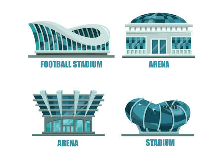Glassware futuristic football or soccer stadium. Architecture of arena building for soccer competition or tournaments, facade of athletic building for sport events exterior view. Soccer or football theme