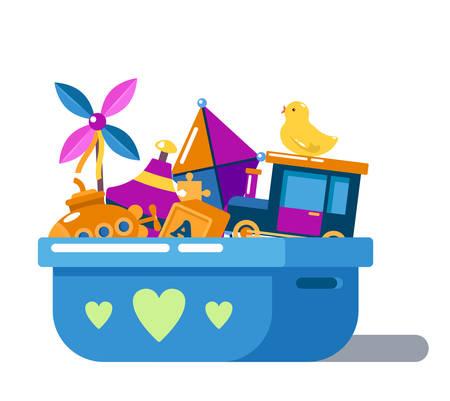 Juguetes de niños en la caja con el corazón o en el pecho. Kite y pato de goma muñeca, coche o automóvil, perinola juguete o spinner, niño o niño whirlabout. pila de dibujos animados de juguetes, artículos para bebés o niños para el juego Ilustración de vector