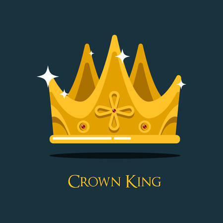 old style retro: Golden king crown or pope triada, retro monarch headdress. Retro prince or princess, old style queen crown icon that can be used for historical book or heraldic crown symbol Illustration