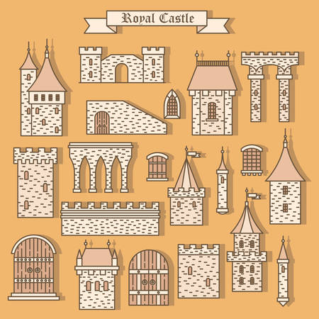Cartoon stone castle isolated parts like tower with flag and gate window and steeple, wall. Palace or dungeon, fort or vintage castle, fortress. Can be used for medieval or historical theme, castle vector icon Illustration