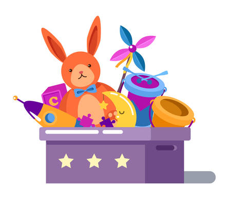 toy box: Toy box or chest with rabbit doll and child rocket, cube and puzzle, drum and moon, bucket in children toy box with stars. Can be used for childhood or cartoon toys collection in box theme