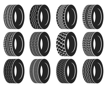 vulcanization: Tire or wheel for truck or bus, automobile tyre. Winter protector isolated or transport wheel icons, tractor tyre with track. Vulcanization or garage, rally sport or tire mount, car maintenance logo