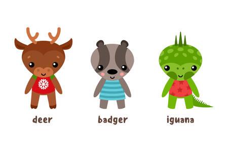 Cartoon iguana and deer, badger animal. Smiling fallow-deer and reptile, guana lizard and brock, wildlife cartoon smiling forest deer, zoo iguana and mascot badger. Cartoon set of animal characters