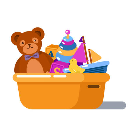Geïsoleerde Staande Kinderen Cartoon Speelgoed Doos. Raket