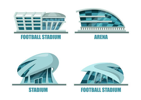 modern building: Soccer field or football stadium modern architecture. Facade exterior view on soccer or football building for competition events, stadium for athletic activity. For sport club or soccer logo