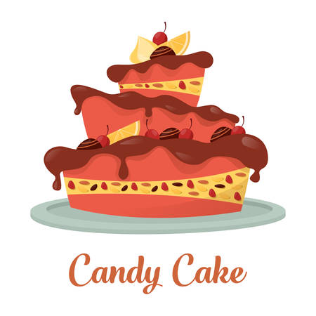 wedding gift: Chocolate cake with cream and lemon logo. Cherry and candy on top of standing confectionery cake banner. For pastry and bakery shop or store, cook or cake gift, wedding or birthday celebration