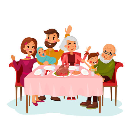 family holiday: Family on traditional holiday dinner with chicken or turkey. Father and mother, grandmother and grandfather with daughter girl, newborn baby in family. Festive celebration, cartoon family illustration