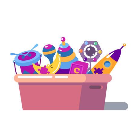 scatola dei giocattoli cartoon isolati bambini in piedi. Rocket e poltrona sacco, sonaglio o maracas, tamburo e la luna, il giocattolo di puzzle in petto o scatola. Per l'illustrazione infanzia, pila di oggetti giocattolo raccolta, giochi per bambini