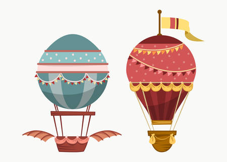 inflate: Balloon air travel flying transport. Vintage air balloon with wings and balance or ballast, sport striped airship isolated icon. For tourism and travel, sport air ballooning Illustration