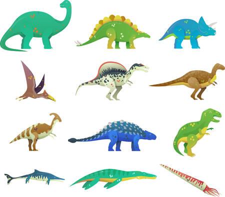Set van geïsoleerde cartoon dinosaurus of dino. T-rex of t-rex, tyrannosaurus rex en stegosaurus, brachiosaurus en spinosaurus dino, cartoon saichania en pterodactyloidea dinosaurus icoon. Jurassic thema