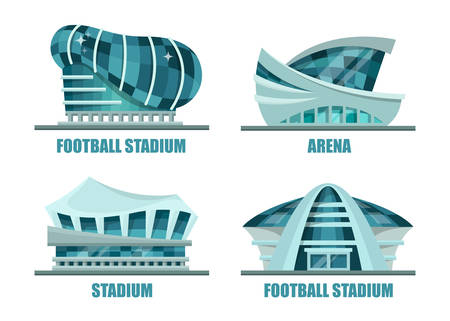 Facade architecture for soccer or football stadium. Sport building facade exterior view or athletic arena for soccer events or championships, Set of isolated soccer futuristic glassware construction