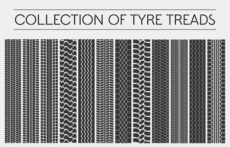treads: Wheel or tire, tyre treads or car tracks. Dirty ground detailed multiple stamps of protector, tracks or treads made by motorcycle or truck, car or automobile. Set of tire or tyre print Illustration