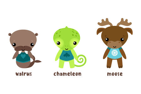 Animal moose and cartoon chameleon, walrus or morse. Sea cow and isolated elk, reindeer cartoon character. Isolated cartoon funny and smiling animal characters in cloth vector illustration Illustration