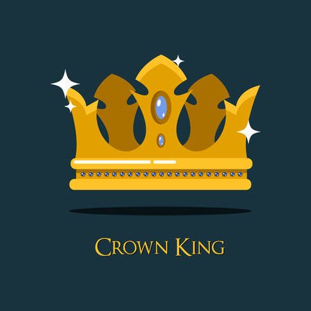 Queen or king gold diadem or royal crown. Monarch imperial symbol of majesty and royalty crown, gold prince or princess crown emblem.