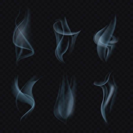 haze: Cigarette smoke or mist on transparent background. Marijuana or weed smoke, steam or smog background, hookah haze or smoke trail.