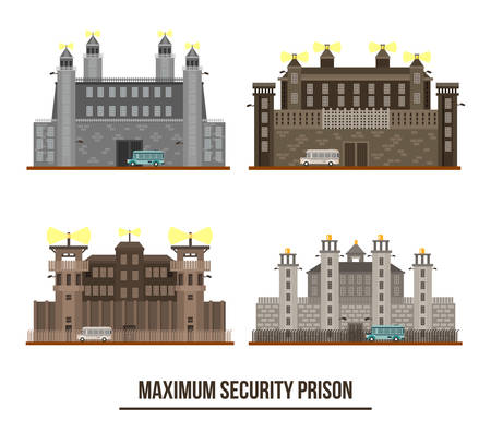inmate: Entrance at maximum security prison with towers. Set of isolated jail building facade exterior view, prisoner bus transport near fence. For jail building and federal prison architecture, criminal prison