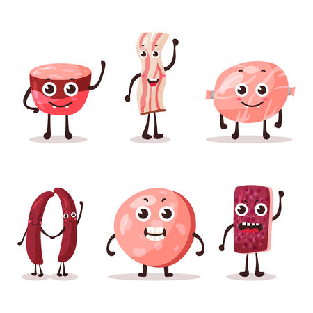 banger: Set of isolated cartoon meat characters. Fat or lard, steak meat snack and frankfurt sausage, beef and wurst, salami cartoon meat character.