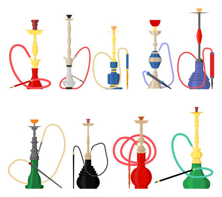 Set of hookah with pipe for smoking tobacco and shisha. Hubbly bubbly smoking accessory, east arabic water hookah or narghile. Smoking bar sign, restaurant logo, set of icons for hookah souvenir Illustration